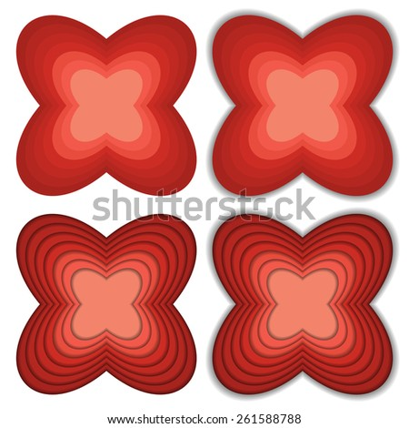 Set of 4 flower like shapes in shades of red with different shadows - stock vector