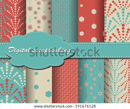 set of flower vector abstract pattern paper for scrapbook