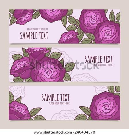 Set of flower vector banners - stock vector