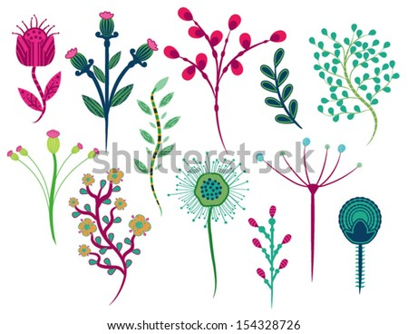 Set of Flowers Design on White Background in Vector