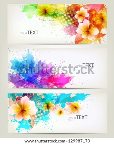 Set of flowers element and colorful blots..Design brochure template with floral elements - stock vector