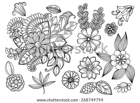 Set of flowers. Floral doodles. - stock vector
