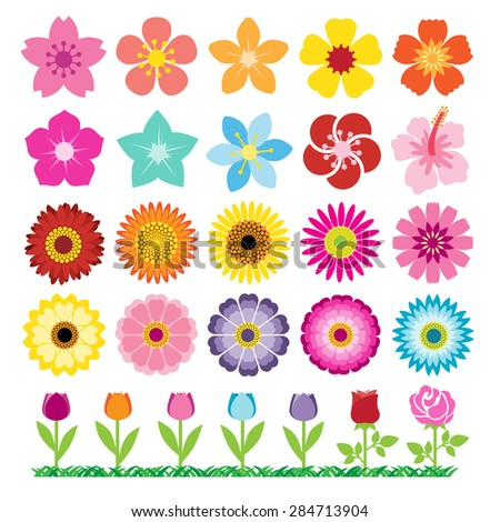 Set of  Flowers Icons - stock vector