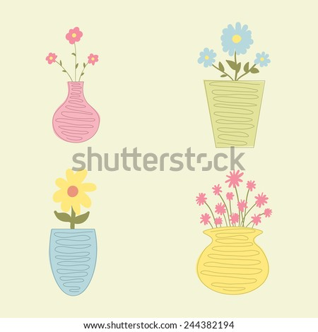 Set of flowers in vases, vector illustration - stock vector