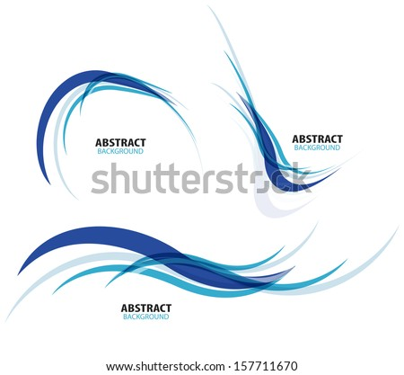 Set of flowing blue wave lines - stock vector