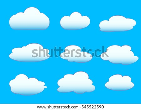 set of fluffy clouds on blue background