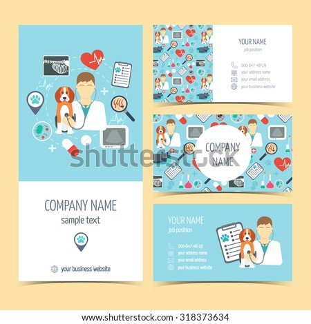 Set of flyer, brochure and business cards for vet clinic. Pet care. Set of promotional products. Flat design. Vector illustration - stock vector