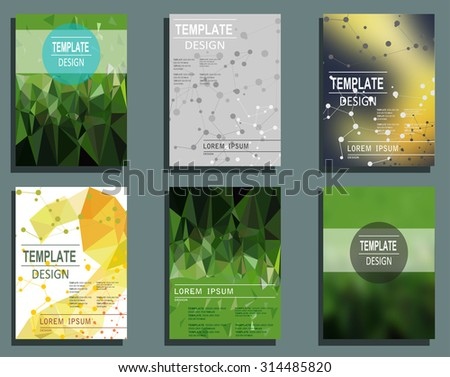 Set of Flyer, Brochure Design Templates. Geometric Triangular Abstract Modern Backgrounds. Typographic Emblems, Logo, Banners