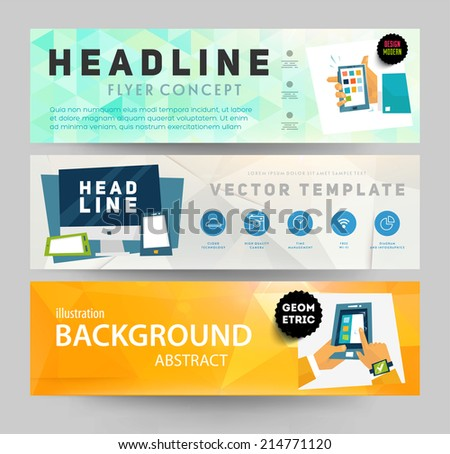 Set of Flyer, Brochure Design Templates. Geometric Triangular Abstract Modern Backgrounds. Mobile Technologies, Applications and Online Services Concept. - stock vector