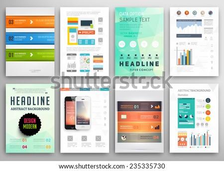 Set Flyer Brochure Design Templates Geometric Stock Vector - Brochure template online