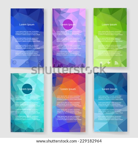 Set of flyer, brochure design templates. Mobile technologies, infographic concept. Geometric triangular abstract modern backgrounds.  - stock vector