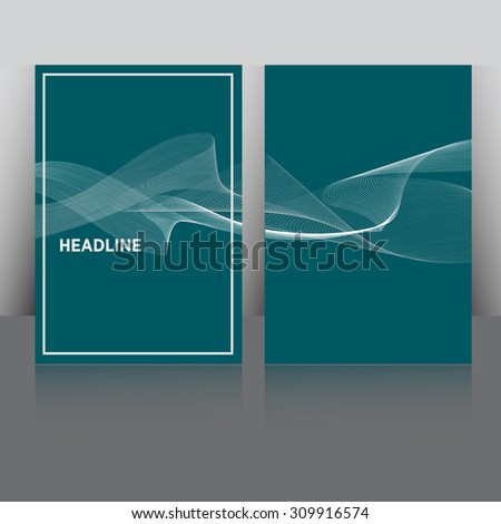 Set of Flyer, Brochure Design Templates. Smoke waves in various colors. Abstract Modern Blue Backgrounds. Mobile Technologies, Applications and Online Services. Mock up. Shine effect. - stock vector