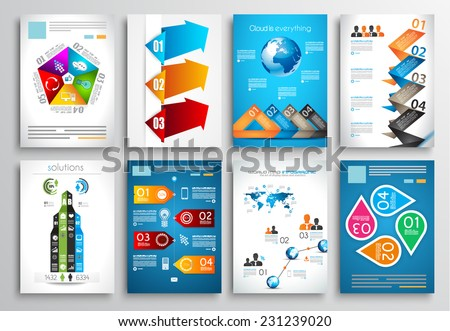 Set of Flyer Design, Web Templates. Brochure Designs, Technology Backgrounds. Mobile Technologies, Infographic  and statistic Concepts and Applications covers. - stock vector