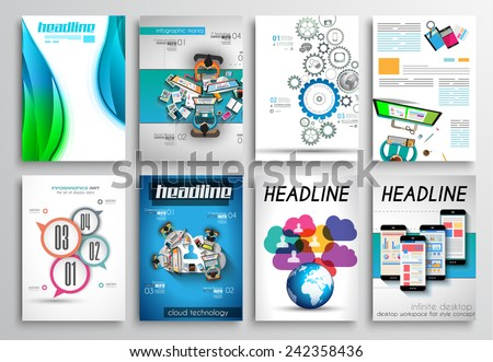 Set Flyer Design Web Templates Brochure Stock Vector