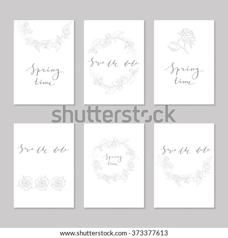 set flyer pages layout save date stock vector 373377613 shutterstock