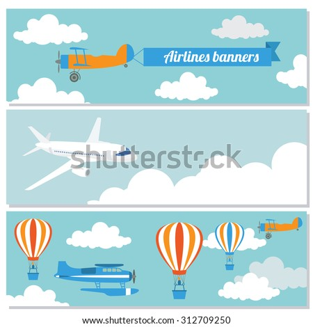 Set of flying airplanes banners for your text. Vector illustration - stock vector