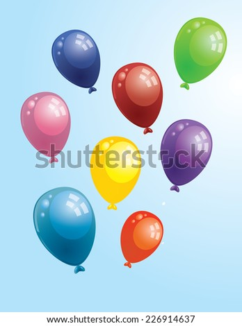 set of flying balloons