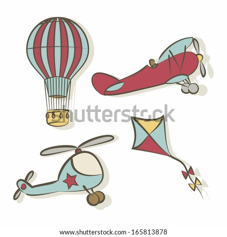 Set of flying icons - vector illustration - stock vector