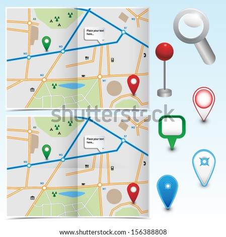 Set of folded maps and gps icons. Vector eps10.
