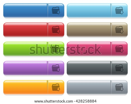 Set of folder download glossy color menu buttons with engraved icons - stock vector