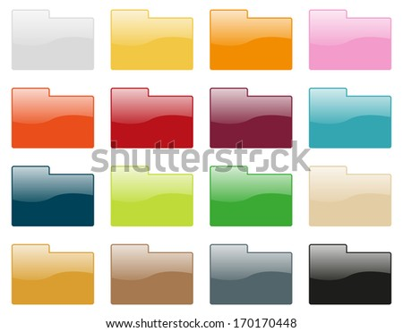 Set of 16 folder icons in different colors - stock vector