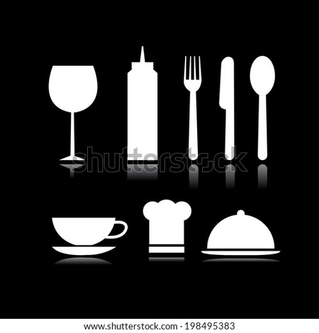 Set of food and beverage symbols in black background