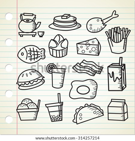 set of food and drink doodle - stock vector