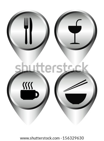 Set of food and drink icon, sign, symbol metallic, Vector illustration. - stock vector