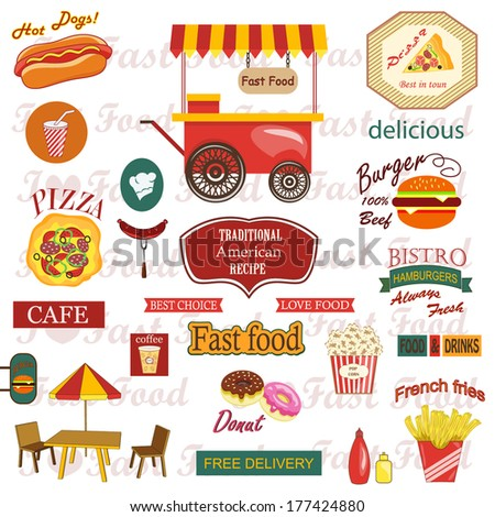 Set of food and drink labels,icons  - stock vector