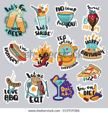 set food drink stickers social network stock vector 555959386