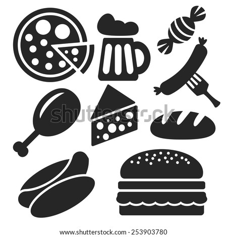 Set of food and drink universal web and mobile logo icons isolated on white. Vector symbols of candy, sausage, fork, bread, cheese, pizza, beer, hamburger, hot dog, chicken leg - stock vector