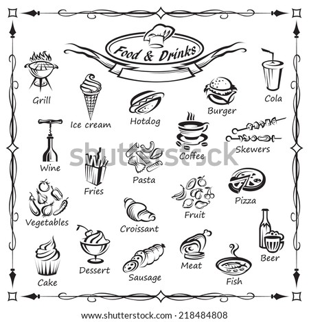 set of food and drinks - stock vector