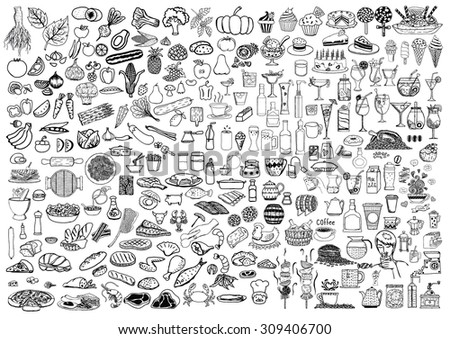 Set of food and drinks doodle on white background. - stock vector