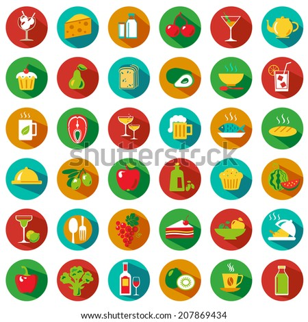 Set of food and drinks icons. Vector illustration. Hipster style - stock vector