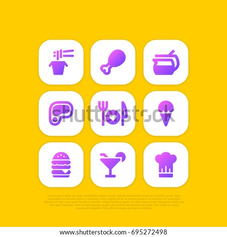 Set of Food and Kitchen clipart app icons on rounded rectangle or square. Contains chicken drum stick, double burger, icecream, noodle, plate knife fork, steak, coffee mug, chief hat.