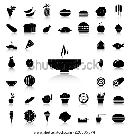 Set of Food black icons and silhouettes - stock vector