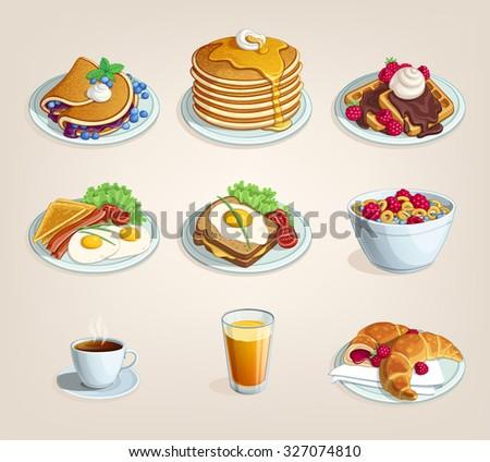 set of food for breakfast Classic breakfast - stock vector
