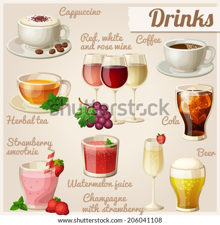 Set of food icons. Drinks. Cup of cappuccino, red, white and rose wine in glasses, cup of coffee, herbal tea, cola with ice cubes, strawberry smoothie, watermelon juice, champagne, glass of beer. - stock vector
