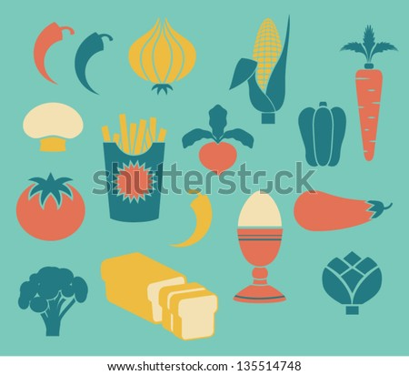 Set of Food Icons, including asparagus, corn, broccoli, radish, egg and button mushroom, in retro style - stock vector