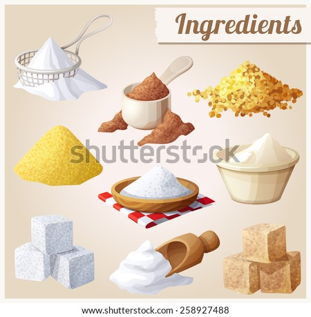 Set of food icons. Ingredients for cooking - stock vector