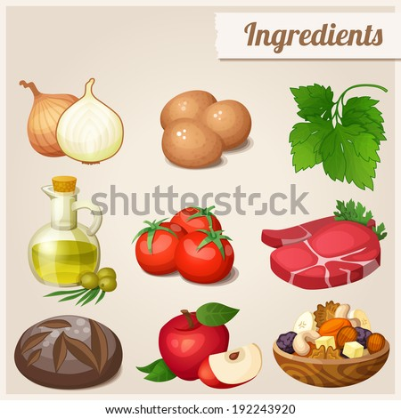 Set of food icons. Ingredients. Loaf of bread, raw eggs, fresh meat, tomatoes, olive oil in bottle, onions, parsley, red apple, dried fruits and nuts. - stock vector