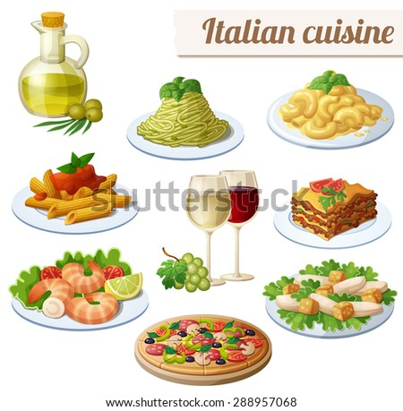 Set of food icons isolated on white background. Italian cuisine. Spaghetti with pesto, lasagna, penne pasta, pizza, olive oil, macaroni and cheese, red and white wine in glasses, prawns, caesar salad