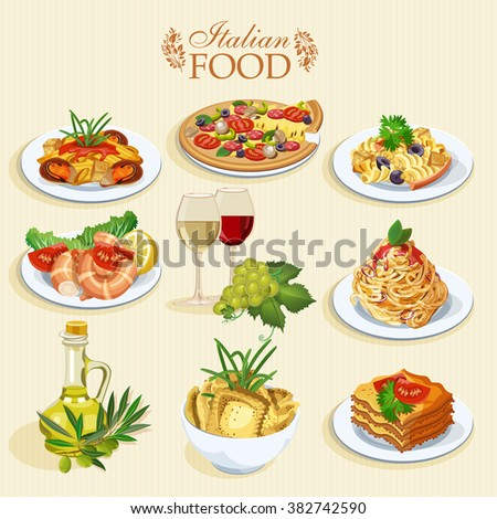 Set of food icons isolated on white background. Italian cuisine. Spaghetti with pesto, lasagna, penne pasta, pizza, olive oil, macaroni and cheese, red and white wine in glasses, prawns - stock vector