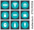 Set of food icons on a blue background. Vector illustration eps 10 - stock vector