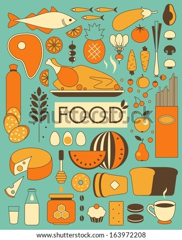 Set of food ingredients in Retro-Styled - stock vector