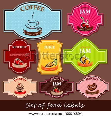 set of food labels - stock vector