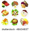 Set of food on a plate - B - stock vector