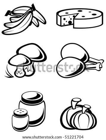 Set of food symbols for design isolated on white. Jpeg version also available in gallery - stock vector