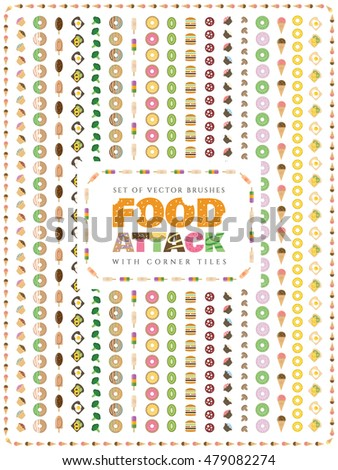 Set of food vector brushes with corner tiles. Food Attack.