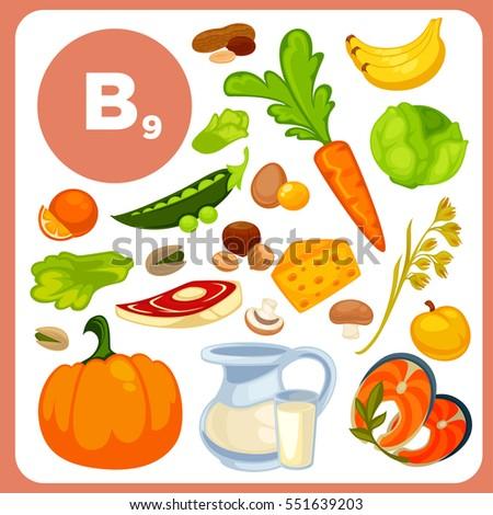 Set food vitamin b12 ingredients health stock vector 551639203 set of food with vitamin b12 ingredients for health banana fish nuts workwithnaturefo